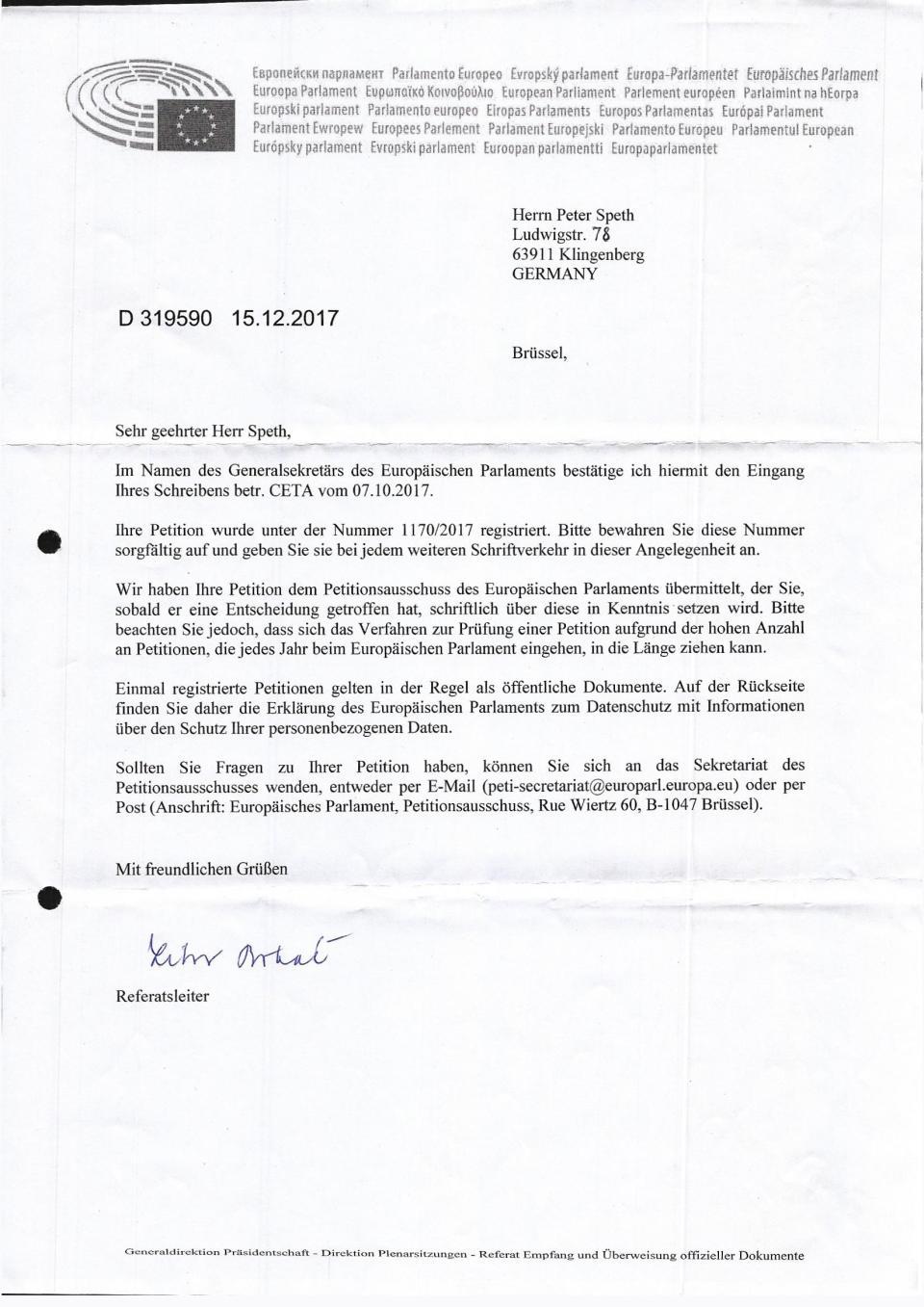 Antwort EU-Parlament